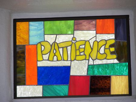 stained glass..patience Standard-Bild