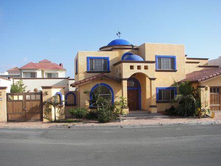 Orange and Blue House