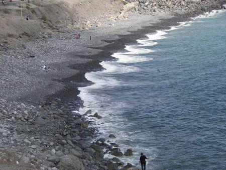 coast line with people relaxing Standard-Bild