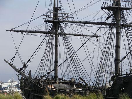 old sail boat in port in Mexico Standard-Bild