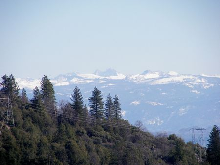 snow covered mountains in the distant