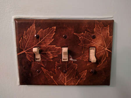 Maple Leaf Pattern Light Switch Stock Photo