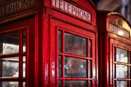 Emblematic London red phone box at night
