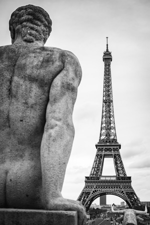 Paris from Mars at Trocadero in Black and White