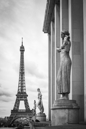 Paris from Venus at Trocadero in Black and White