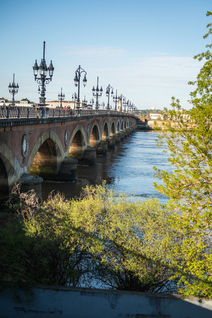 Pont de pierres in the city of Bordeaux in France
