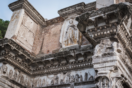 Ruin of the upper part of the Fontana Del Colosseo Via Dei Fori Imperiali in Rome next to the Colosseum