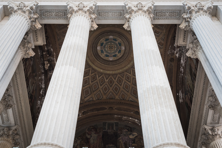 Entrance columns of the Vittorio Emanuele II monument in Rome Italy