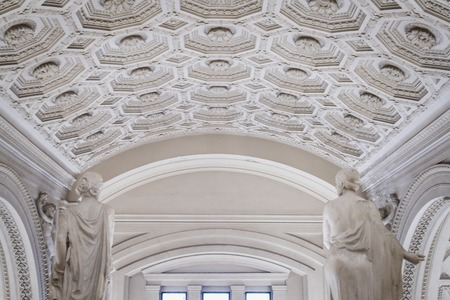 Interior of the Monument to Vittorio Emanuele II with two female statues in Rome Italy