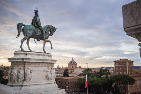 Statue of the monument Vittorio Emanuele II dominating Rome Italy