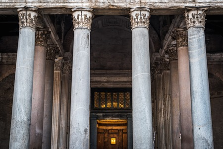 The columns of the majestic entrance to the Pantheon in Rome in Italy Stock Photo