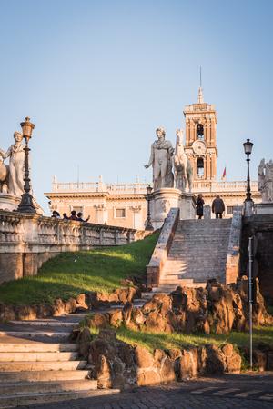 Monument of Marcus Aurelius on the horse on Piazza del Campidoglio in Rome Italy Фото со стока - 122809888
