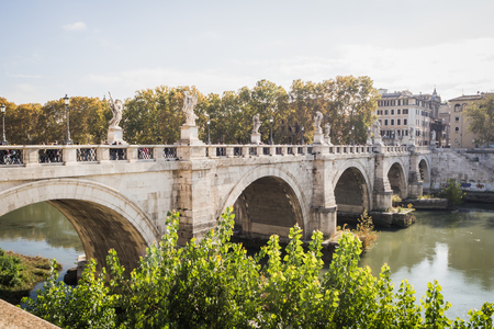 ROME, ITALY - NOVEMBER 18, 2017: Historical bridge with beautiful statue in Rome Italy Editoriali