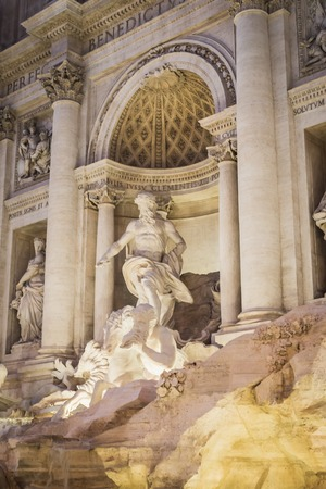Neptune in the Trevi Fountain at night in Rome Italy Archivio Fotografico