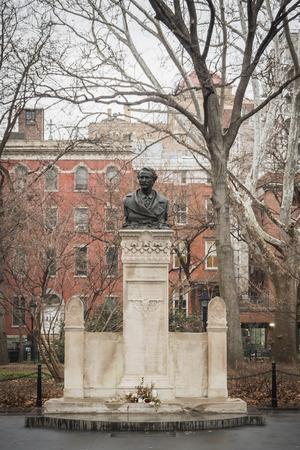 Bust of Alexander Lyman Holley in Washington Square in Manhattan New York