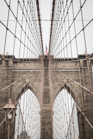 Brooklyn bridge famous architecture towards downtown Manhattan, New York