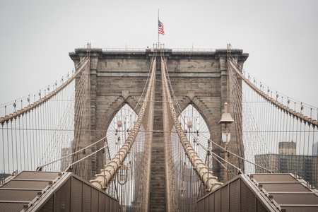 General architecture of the famous Brooklyn bridge going to downtown Manhattan, New York