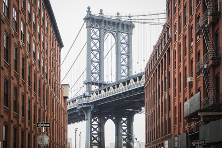 View on teh famous Dumbo and the Manhattan Bridge in the streets of Brooklyn, New York