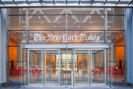 NEW YORK, USA - FEBRUARY 24, 2018: Main entrance of the famous New York Times newspaper in downtown Manhattan in New York