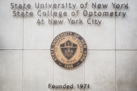 NEW YORK,USA - FEBRUARY 24, 2018: The Entrance Plaque of the State University of New York College of Optometry
