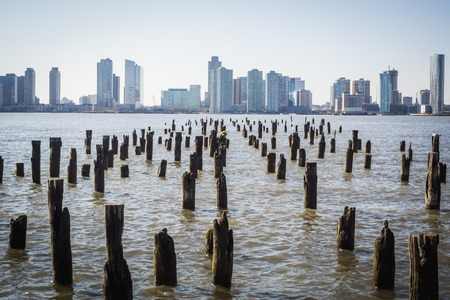 New York skyline cityscape from one of the banks of the Hudson River in NYC
