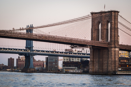 Close up landscape of Manhattan Bridge and Brooklyn Bridge on the East River in NY