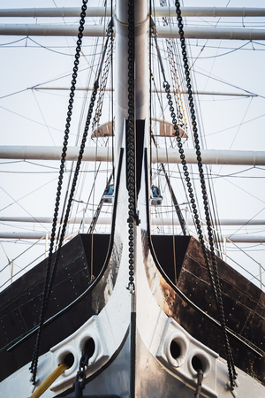 Detail of the bow of a historic sailing ship with iron hull