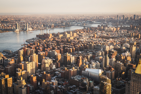 Aerial landscape on Manhattan at sunset seen from a high point of view in NYC