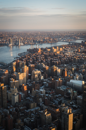Aerial landscape on Manhattan from a high point of view in the evening in NYC