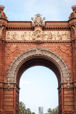 The beautiful red triumphal arch of Barcelona Spain