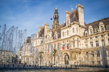 The Place of the Hotel de Ville in the center of the capital in summer in Paris, France