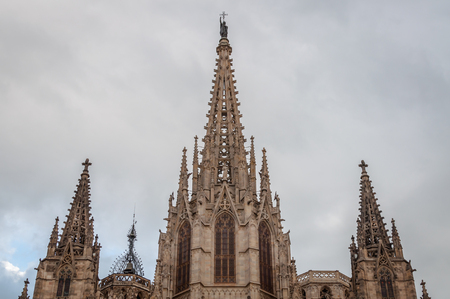 Close-up of the monumental high of Santa Creu Cathedral in Barcelona, Spain