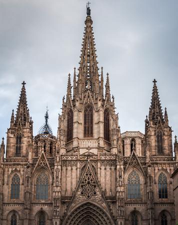 Monumental facade of Santa Creu Cathedral in Barcelona, Spain