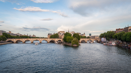 Panorama of the beautiful Pont Neuf in Paris under a beautiful blue summer sky