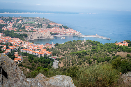 Summer landscape with views of the sea and the seaside town of Collioure from a high point of view