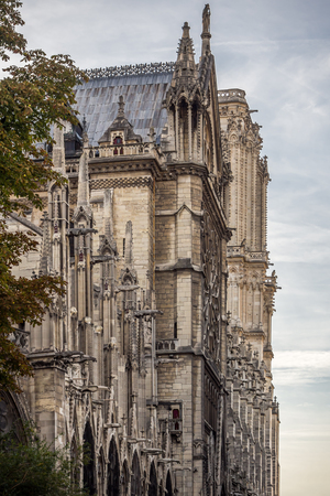 Architectural side above the secondary entrance of Notre Dame de Paris cathedral