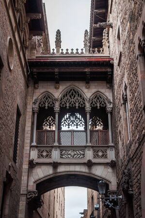 The Bridge of Carrer del Bisbe, the clone of the Bridge of Sighs of Venice in the heart of the Gothic Quarter of Barcelona