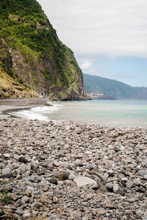 Green beach of Sao Vicente in Madeira