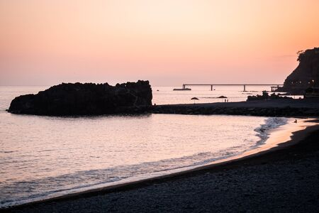 Sunset shadow on a beach in Madeira