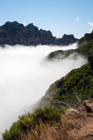 Over the clouds in Pico Ruivo in Madeira 스톡 콘텐츠