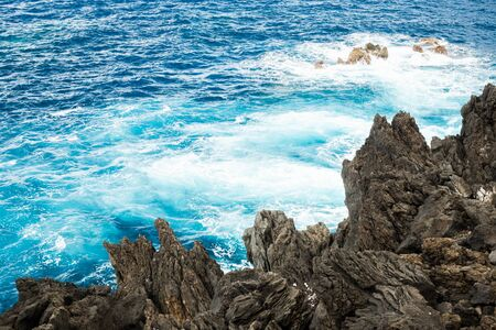 Turquoise water near the coast of Madeira 스톡 콘텐츠