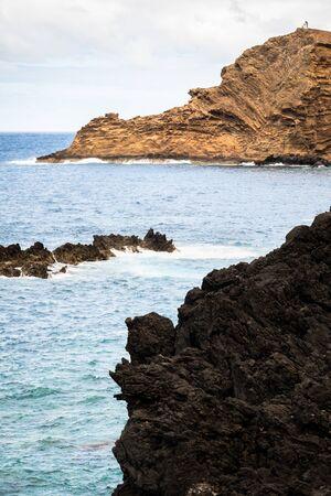 Rocky blue ocean of Porto Muniz in Madeira