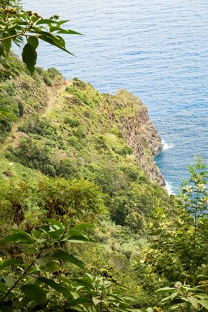 View on the ocean from the top of the cliff in Madeira
