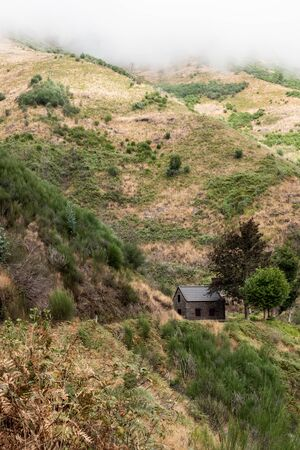 Hut in the mountains in the center of the forest on the island of Madeira