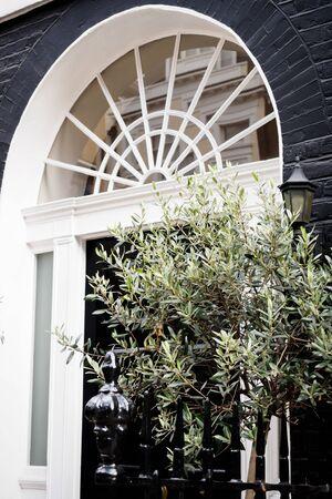 Elegant house entrance in London 스톡 콘텐츠