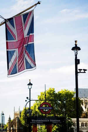 The Union Jack in Westminster district of London 스톡 콘텐츠