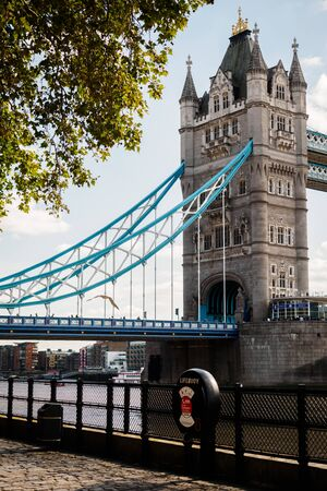 Tower Bridge from the Thames Quays in London 스톡 콘텐츠