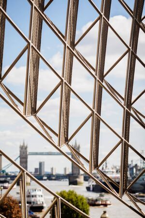 Tower Bridge across the grid of the city of London