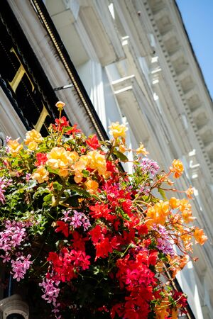 The flowered facade of the beautiful buildings of London