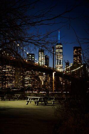 The Manhattan skyline from Brooklyn at night